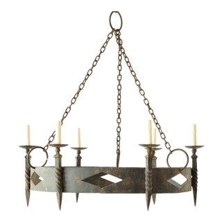 Rustic Iron Ring Chandelier For Sale