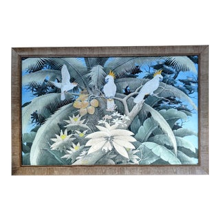 Hand-Painted Birds in the Jungle, on Canvas, by Arsana, From Bali For Sale