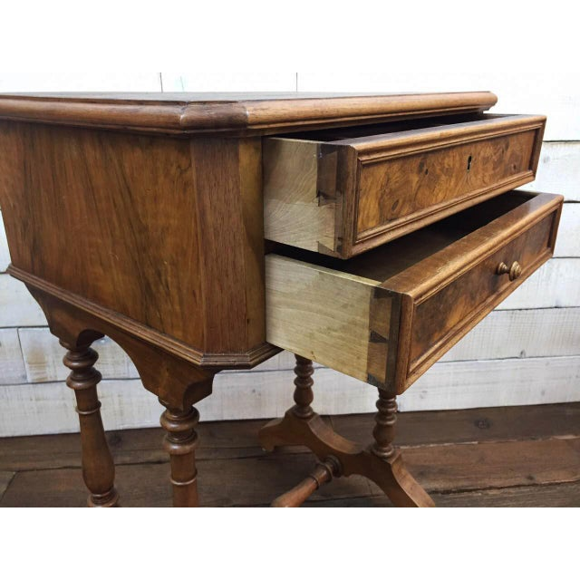 Antique French Vanity Armoire Desk, Burl Wood & Walnut - Image 6 of 10
