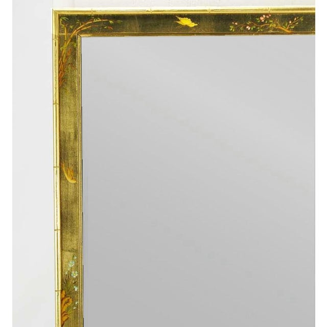 """1960s 50"""" LaBarge Hand Painted & Gilt Beveled Wall Mirror For Sale - Image 5 of 6"""