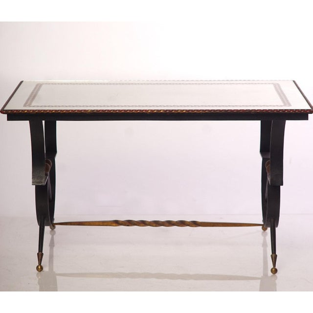 Vintage French Iron and Etched Mirrored Top Low Table For Sale - Image 4 of 4