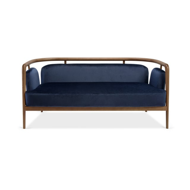 Contemporary Midcentury Modern Walnut Sofa For Sale In New York - Image 6 of 6