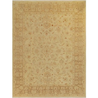 Kafkaz Sun-Faded Sherika Ivory/Lt. Brown Hand-Knotted Rug - 9'0 X 11'7 For Sale