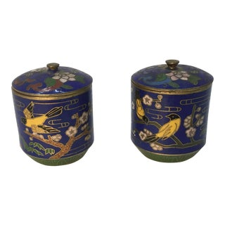 Miniature Chinese Cloisonné Lidded Jars - a Pair For Sale