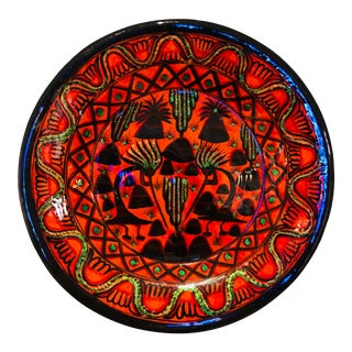 Vintage Folk Art Mexican Handmade and Painted Wall Plate For Sale