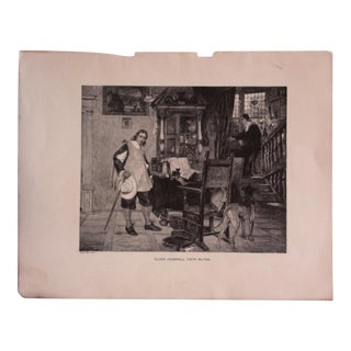 """Antique Great Men and Famous Women Print, """"Oliver Cromwell Visits Milton"""" Selmar Hess Publishers 1894 For Sale"""