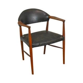 Danish Modern Teak & Black Leather Vintage Arm Chair For Sale