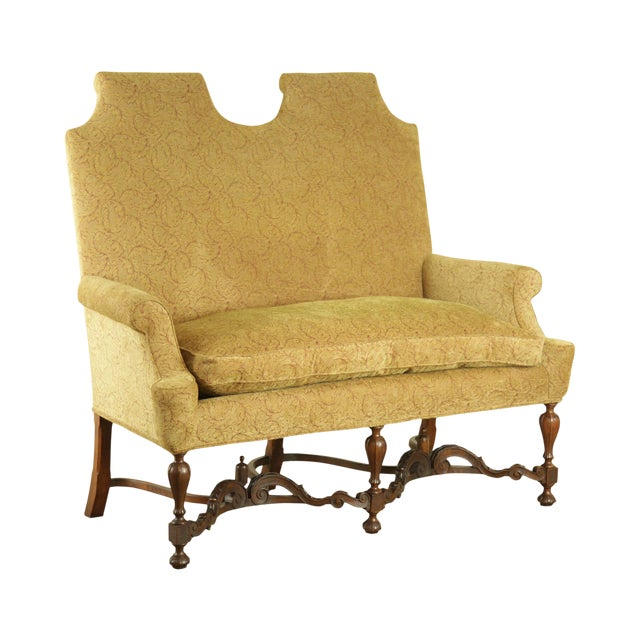 Jacobean Style Antique Walnut Base Upholstered Settee For Sale