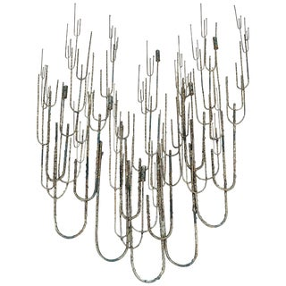 Brutalist Jere Metal Wall Sculpture Candleholder For Sale