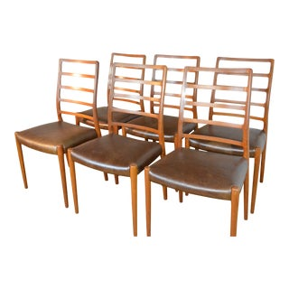 Set of Six Jl Moller Danish Modern Teak & Leather Model 82 Dining Chairs For Sale