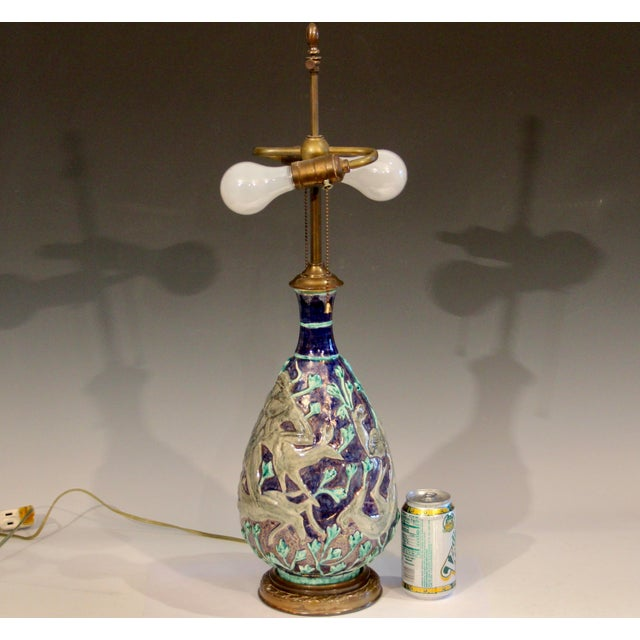 Vintage 1920s Jean Mayodon French Art Deco Gilt Pottery Vase Lamp For Sale - Image 13 of 13