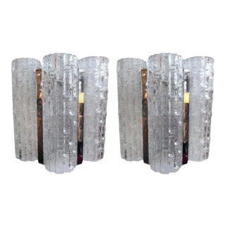 Vintage Venini Style Murano Glass and Chrome Sconces-A Pair For Sale