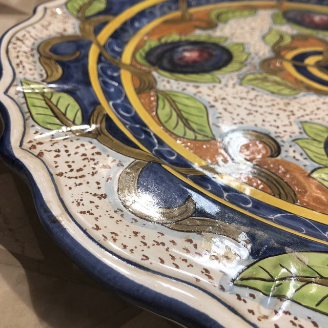 1990s Italian Hand Painted Ceramic Wall Plate For Sale - Image 5 of 11