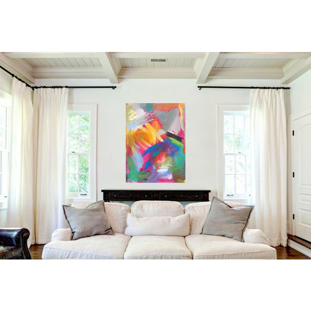 """Abstract """"Here Comes the Sun"""" by Trixie Pitts Large Abstract Oil Painting For Sale - Image 3 of 11"""