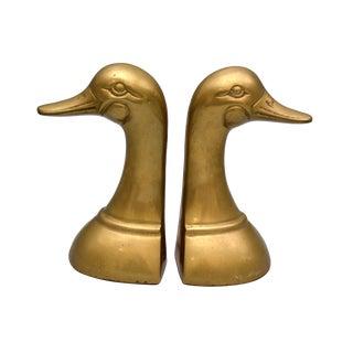 Brass Duck Heads Bookends