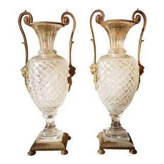 A French Louis XVI Style Bronze Mounted Cut Crystal Urns - a Pair For Sale