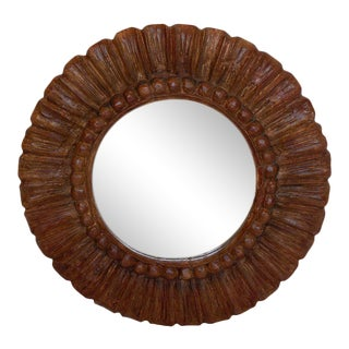 Hand Carved Round Mirror For Sale
