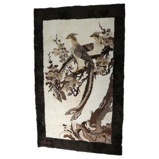 Sculpted Animal Skin Rug Depicting Bird of Paradise For Sale