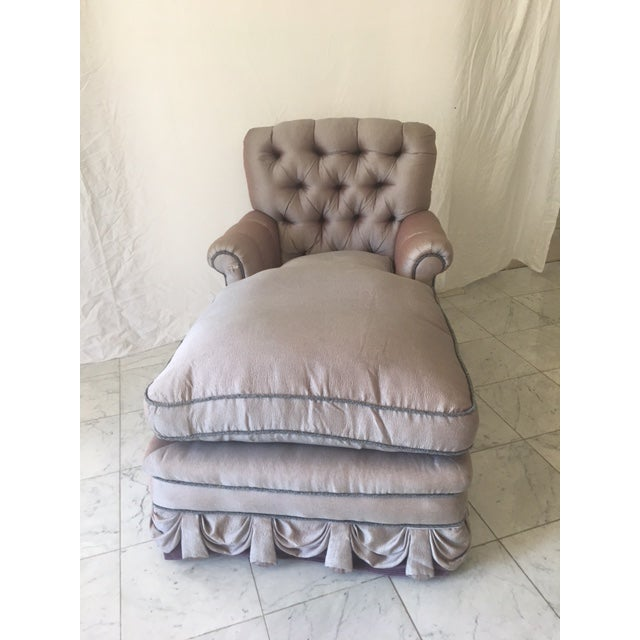 Exquisite and dramatic is this vintage chaise lounge. Ready for any Hollywood set. Upholstered in a lavender shagreen silk...