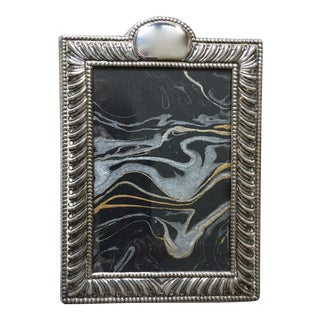Vintage Silver Picture Frame-Velvet Easel Back For Sale