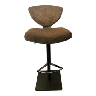 Contemporary Light Brown Adjustable Swivel Barstool For Sale