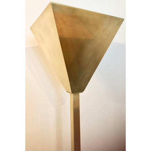 Vintage Brass Torchiere Floor Lamp For Sale In Miami - Image 6 of 7