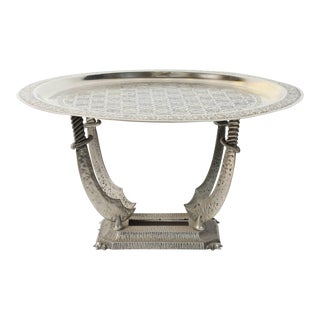 20th Century Moroccan Silvered Hand-Crafted Tray Table With Metal Stand For Sale