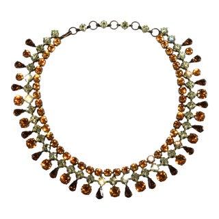 Schreiner Necklace Collar Amber Yellow Brown Rhinestones For Sale