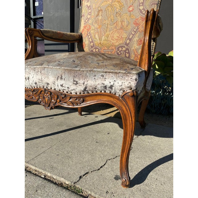 19th Century French Walnut Petite Point Neelde Point Arm Chairs- A Pair For Sale - Image 9 of 12