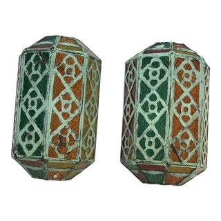 Multicolor Moroccan Wall Lamps - a Pair For Sale