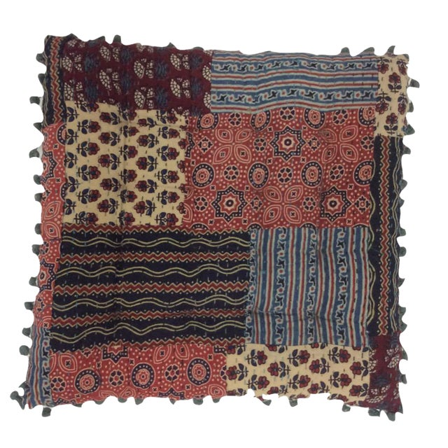 Bohemian Blockprinted Patchwork Yoga Pillow For Sale
