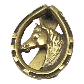 Brass Horse Head and Horseshoe Equestrian Door Knocker For Sale