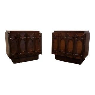1970s Sculpted Brutalist Walnut Nightstands, Brasilia Style For Sale