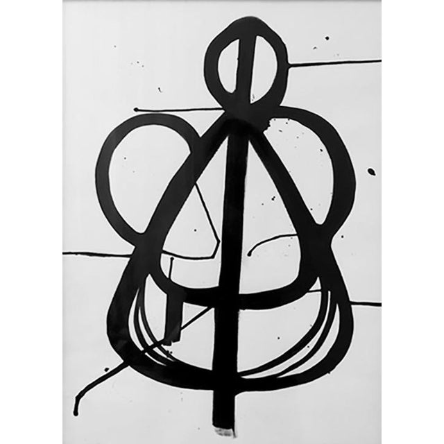 Modern Original Black and White Ink Framed Painting For Sale - Image 3 of 3