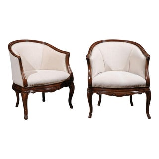 Tuscan Louis XV Style Walnut Upholstered Club Chairs - a Pair For Sale