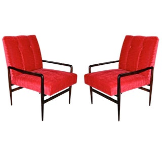 1960s Red Upholstered Brazilian Jacaranda Armchairs - a Pair For Sale