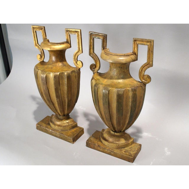 Neoclassical Pair of 18th Century Half-Urn Carved Wood Decorations For Sale - Image 3 of 5