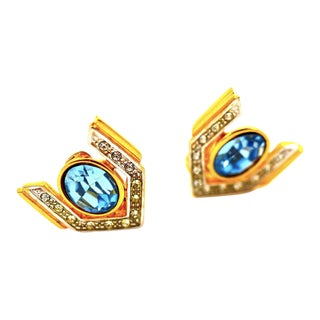 Art Deco Inspired Eighties Blue Topaz and Crystal Earrings For Sale