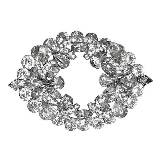 1960s Eisenberg Large Faceted Crystal Brooch For Sale