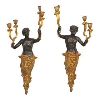 French Victorian Bronze and Gilt Wall Sconces - a Pair For Sale