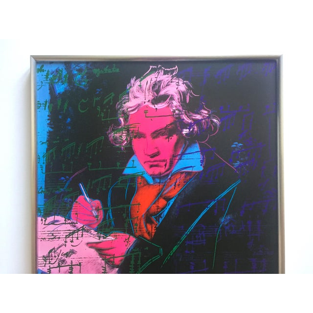 """This Andy Warhol Foundation rare vintage 1992 offset lithograph print custom framed Pop Art poster """" Beethoven """" 1987, is..."""