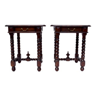 Maitland Smith Barley Twist End or Side Tables - a Pair For Sale