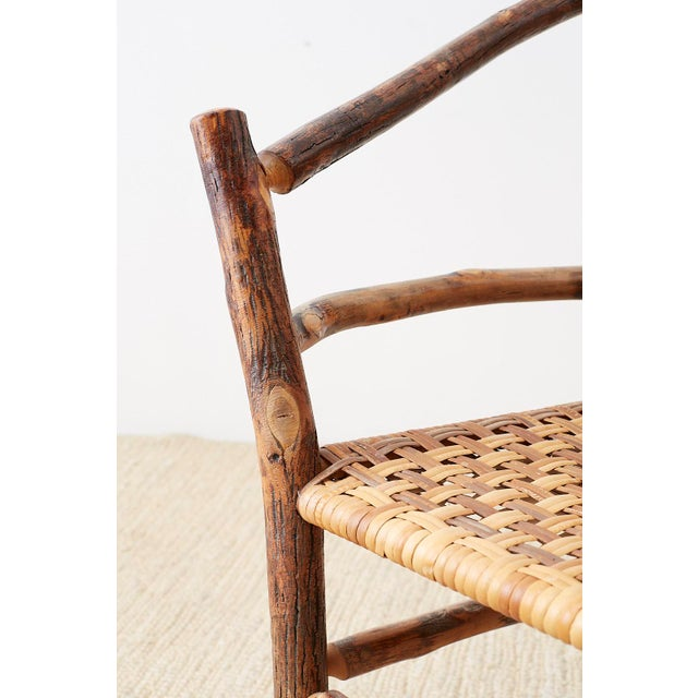 Brown Set of Six Old Hickory Twig Hoop Adirondack Armchairs For Sale - Image 8 of 13