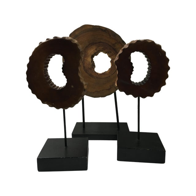 Wood Wheels on Stands - Set of 3 - Image 1 of 6