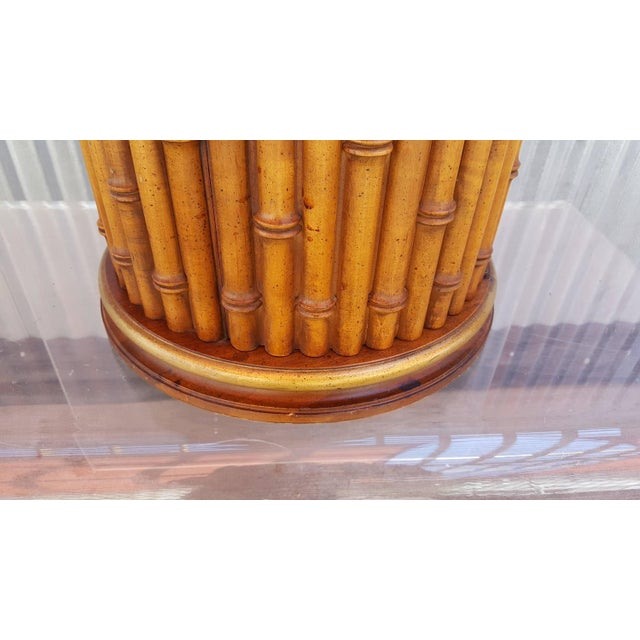 Faux Bamboo Marble Topped Cylindrical End Table - Image 5 of 6