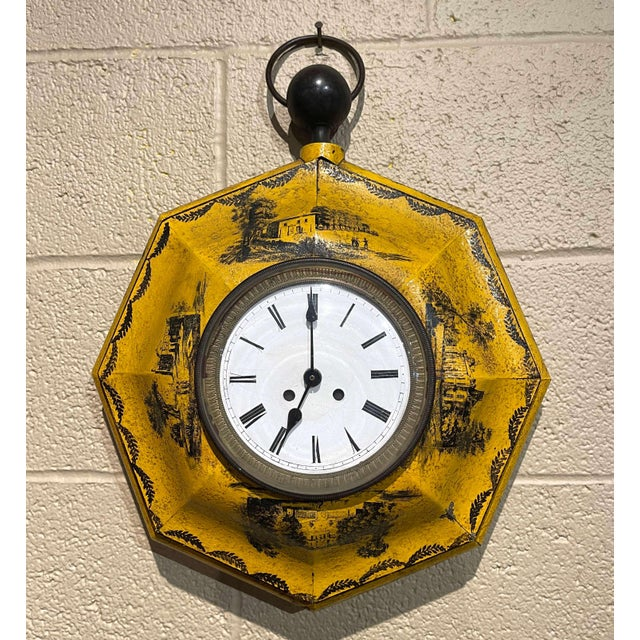 19th Century, French Napoleon III Painted Tole Wall Clock For Sale - Image 12 of 12