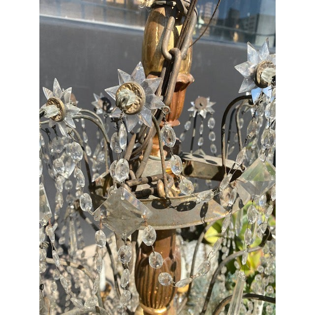 Italian 19th C. Italian Antique Element Carved Wood, Iron and Crystal Chandelier For Sale - Image 3 of 13