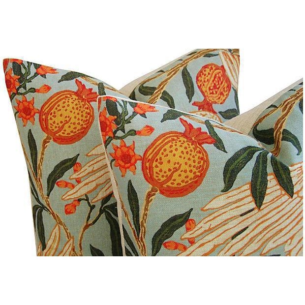 Tangerine Orange Velvet & Tropical Parrot & Pomegranate Feather/Down Pillows - Set of 4 - Image 5 of 6