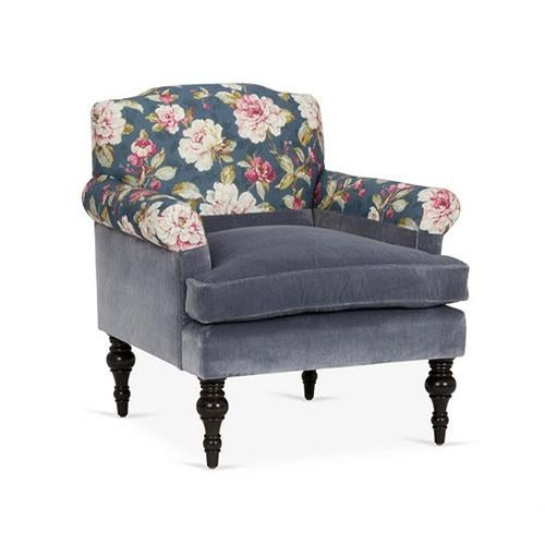 Tight-back, two-tone arm chair with rolled arms, loose seat cushion and turned legs. Upholstered in Kim Salmela Bella...