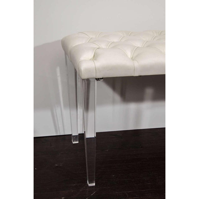 Modern Custom Tufted Leather with Lucite Leg Bench For Sale - Image 3 of 6